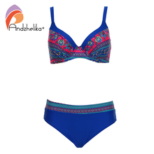 Andzhelika Swimsuit Women Bikini 2017 New Sexy Vintage Print Large Cup Bar small Bottom Bathing Suit Plus Size Swimwear AK2025