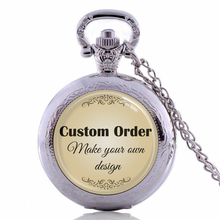 Custom order. Make your own special necklace with photo. Personalized Photo Pocket Watch Necklace(China)