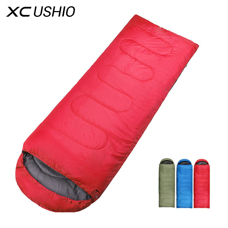 High Quality Outdoor Camping Sleeping Bag for Spring & Autumn Adult Children Envelope Hooded Cotton Sleep Bag low price on sale(China)