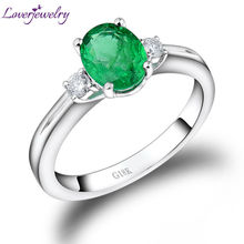 The NEW Oval 6x8mm Solid 18kt White Gold Natural Diamond Emerald Engagement Ring WU220