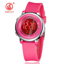Children's Watch OHSEN Brand Digital LED Kid Clock Fashion Sport Watch Cute Wrist watch Waterproof Gift Watch Alarm Hand Clock(China)