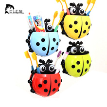 FHEAL Ladybug Toothbrush Holder Toiletries Toothpaste Holder Bathroom Accessories Sets Suction Hooks Tooth Brush Container(China)