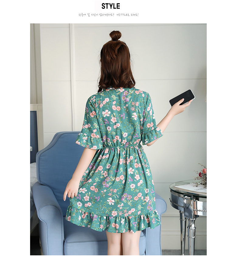 2018 Free Shipping New Fashion Floral Chiffon Summer Dresses Sweet Thin Word Slim Women Work Wear Print Dress Casual Cute Hot 8