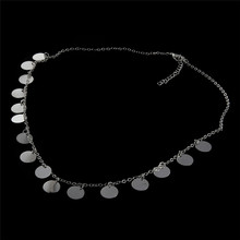 New Arrival Simple Gold Silver Plated Sequins Choker Necklace Dainty Coin Chain For Women Collar Jewelry(China)