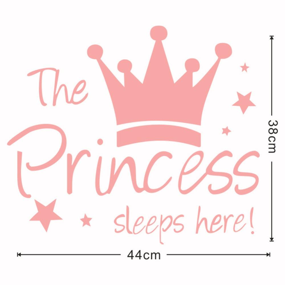 HTB15 H djnD8KJjSspbq6zbEXXa0 - Yanqiao The Princess Sleeps Here Crown Pink Wall Sticker