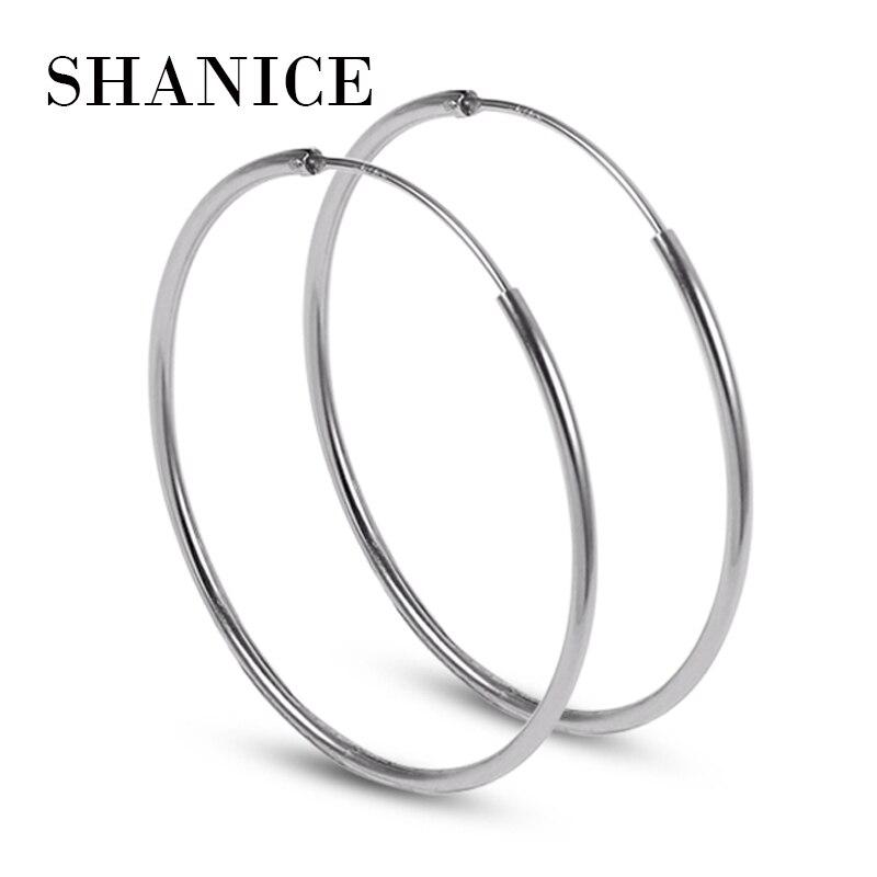 Womens 925 Sterling Silver Elegant Round Shaped Pierced Silver Hoop Earrings