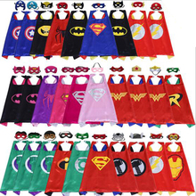 30 Set/Lot Kids Superhero capes with masks Double Cloak Children's birthday party Cosplay Halloween Cartoon Christmas Masquerade