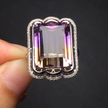 Fine Jewelry Christmas Gift real 18k white gold 100% natural Bolivia origin ametrine Wedding Female rings for Women Ring 23725(China)