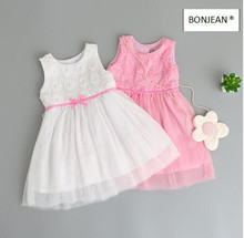 70353338 2017 New Summer Fashion Baby Girls Dresses Print Floral Sleeveless Girl Dress Bow Kids Clothing Supplier Lots(China)