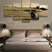 5 Panels canvas prints FISHING ROD canvas painting poster home decor wall art framed artwork