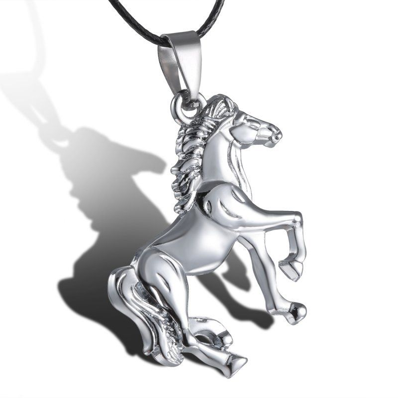 Retro Stainless Steel Choker Necklace Rope Chain Horse Pendant Necklace Unisex Vintage Jewelry For Women Men Accessories