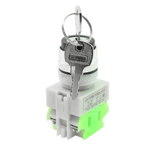 LAY37 AC 380V 10A DPST 2 Position Rotary Selector Key Lock Switch 1 N/O 1 N/C