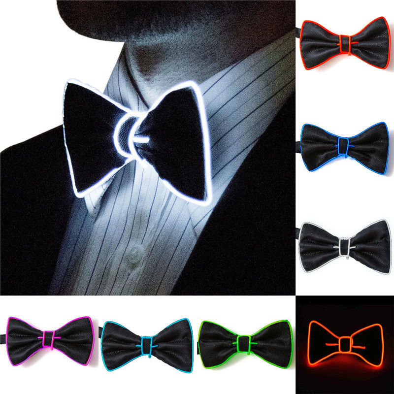 Men/'s LED EL Wire Necktie Luminous Neon Flashing Light Up Bow Tie For Club Party