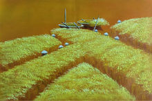 Hand Painted Modern Abstract Vietnam  Harvest Scene Beautiful Landscape Oil Painting Canvas Wall Art  Picture for Living Room