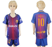6HH BARCELONAS Top quality Thai AAA Qualit KIDS Messis Soccer jersey Kit 2017-18 Home Away 3RD green men shirt Short-sleeves