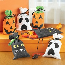 New! 2017 Christmas Halloween Gift Bag 3 styles pumpkin black cat white ghost bag pocket candy bag storage bag D0005