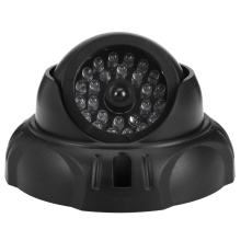 Mini Camera Realistic Dummy Camera Surveillance Security Dome with Flashing LED Red Light CCTV Camera Indoor Outdoor Black Color(China)