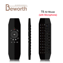 T5 Mic 2.4G Wireless Fly Air Mouse with Microphone Voice Universal Remote Control Keyboard IR Learning For Android TV Box PC T3(China)