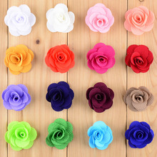 New Style 32pcs/lot  Dia.4CM Mini Hair Flower WITHOUT CLIP 16C In Stock Flat Back For girls Headband DIY Accessories TH13