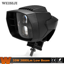 WEISIJI New Coming 1Pcs 35W LED Work Light Low Beam 3880Lm 5.1in Driving Light for Jeep Hummer Ford Motorcycle Truck SUV ATV UTV(China)