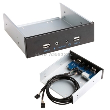 "9/10 Pin to 2 Port USB 2.0 HUB HD Audio 5.25"" PC Floppy Drive Bay Front Panel -R179 Drop Shipping(China)"