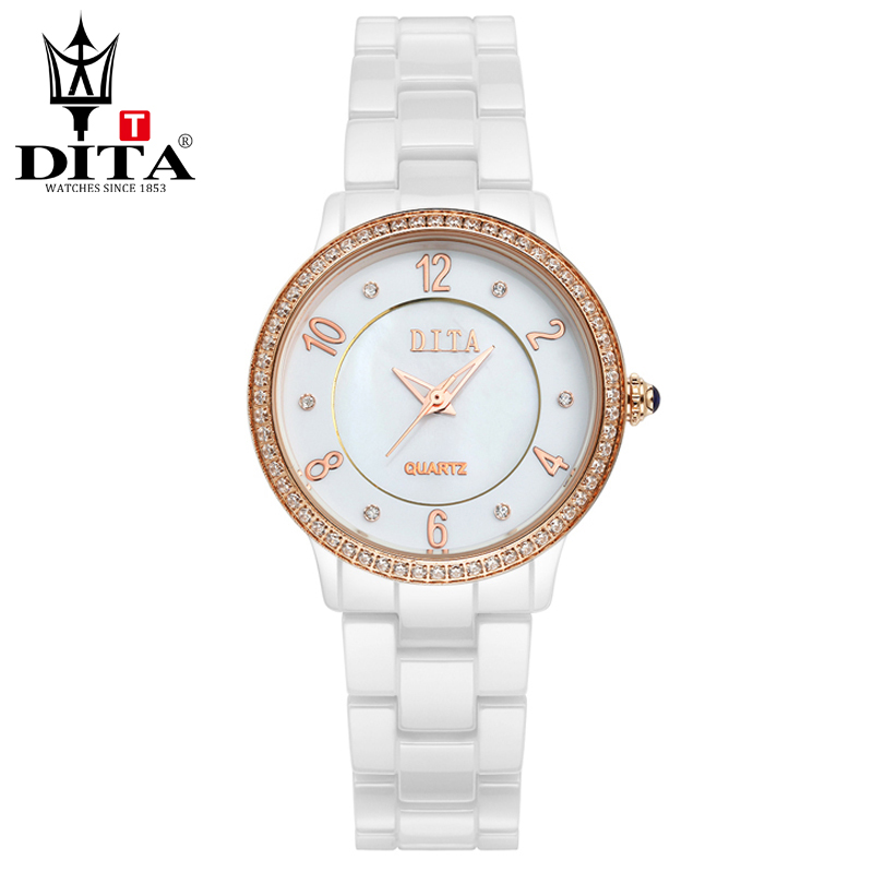 DITA  Ceramic lady watch Fashion Casual Luxury wristwatch Women quartz analog watch  Rose Gold &amp; Silver Crystal Rhinestone<br>