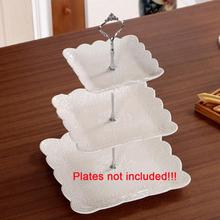 Cake Holder 1 Sets 3 Tier Cake Plate Stand Handle Crown Fitting Metal Wedding Party without the plate