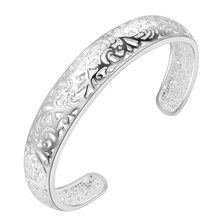 arrival big flower open silver bracelet bangle for women jewelry alloy parallel bars charm bracelet for young ladies