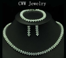 CWWZircons High Quality AAA+ Cubic Zirconia Necklace Bracelet Earrings Jewelry Set For Ladies Party Costume Jewellery T028(China)