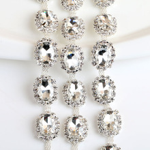 White oval-shaped Fancy Rhinestone Chain DIY Bags, Garment, Shoes, Box, Pen, Furniture, Greeting Cards Wedding dress 1yard(China)