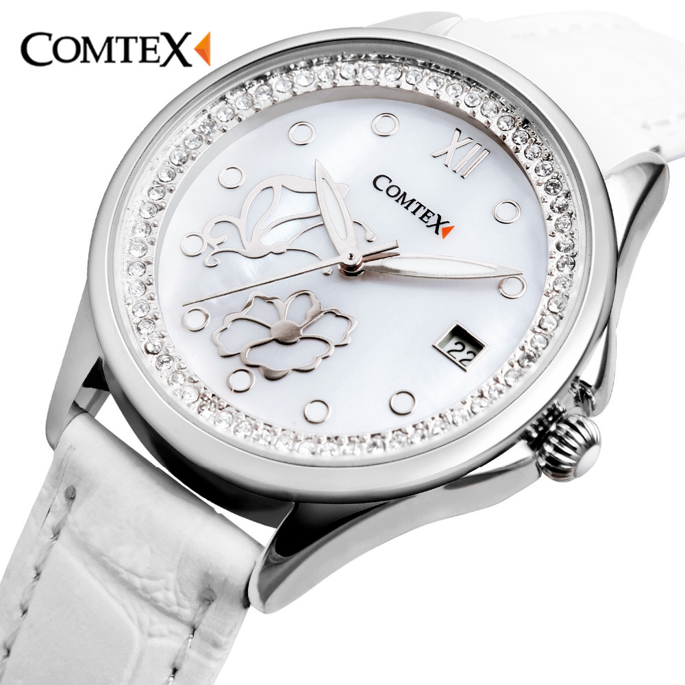 Comtex Womens Watch Pearl White Dial Leather Strap Wristwatch Butterfly Flower Lady Watches Quartz Crystal Bracelet for Girl<br>