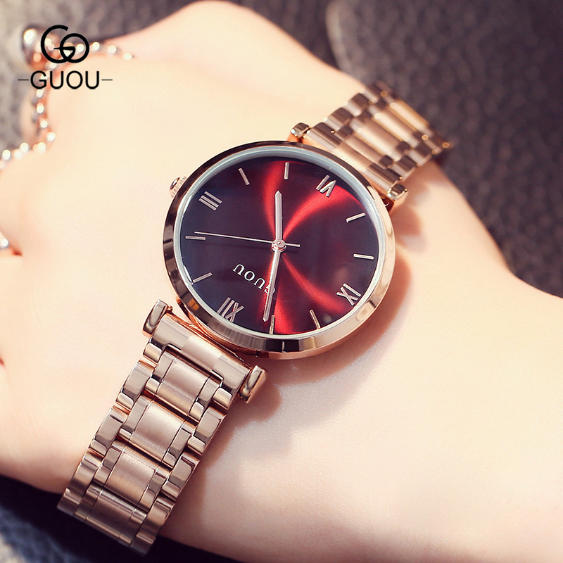 Luxury GUOU Roman Dial Quartz Wristwatch Watch Women Trendy Simple Fashion Casual Dress Steel Clock For Women Ladies Girls<br>