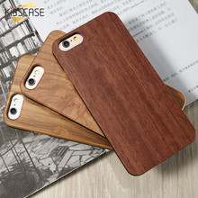 KISSCASE Real Wooden Case For iPhone 5 5s SE 7 6 6s Plus Hard PC Edge + Bamboo Wood Cover For iPhone 8 8 Plus X SE 5 5S Coque(China)