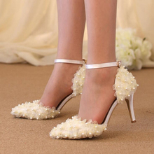 Beautiful Lace Flower Bridal Dress Shoes Wedding Party Pumps Pointed Toe Satin Dancing Shoes Buckle Strap White Pink Champagne