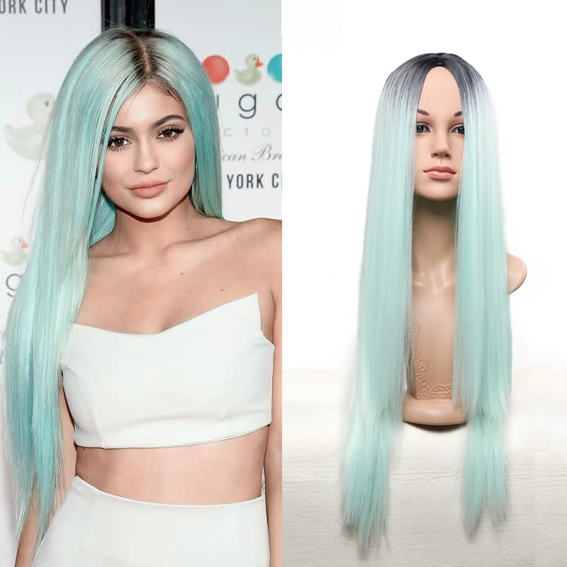 Hot Female Wig Ombre mint green Synthetic Wigs for Women Long Straight Hair Ombre Grey Wigs Heat Resistant Cheap Synthetic Wigs<br><br>Aliexpress
