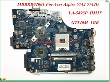 High Quality MBBRB02001 For Acer Aspire 5742 5742G Laptop Motherboard NEW71 LA-5893P HM55 GT540M 1GB PGA989 DDR3 100% Tested(China)