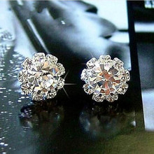 Brief Fashion Bling Garden Ball Zircon Crystal Stud Earring 4ED03(China)