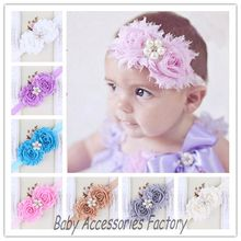 Factory Price Christmas Shabby Flower Headbands With Pearl Rhinestone Center Hair Accessories Kids Elastic Hairbands(China)