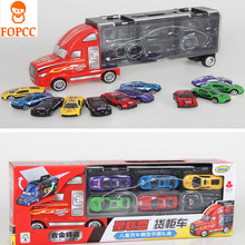 2017 New Children 12PCS Simulation Container Car Model Portable Gift Box Toy Transport Truck Car Racing Car Alloy Storage Car