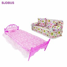 2 Items = 1x Plastic Bed Sleeping Toy Pillow Bedroom Furniture + 1x Fashion Flower Cloth Sofa For Barbie Doll Accessories Gifts(China)