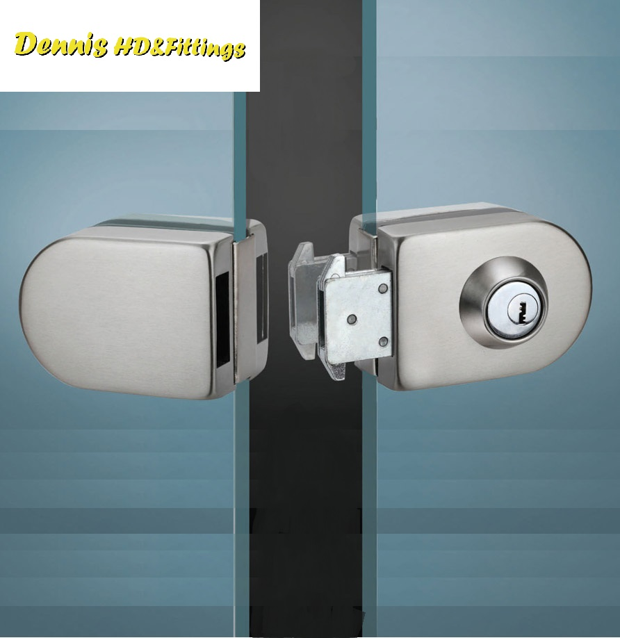 Premintehdw Stainless Steel Entry Gate 10-12mm Glass Door Lock Locks W Key Swing and Sliding Door <br>