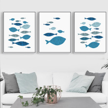Marine minimalism Animal Fish Minimalist Art Canvas Poster Painting Wall Picture Print Modern Home Kids Room Decoration gift(China)