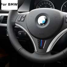 Carbon Fiber Car Steering Wheel Sticker M stripe Emblem Stickers for BMW E90 E92 3 Series 320 325 330 316 318 335 I Car Styling