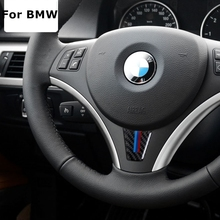 Carbon Fiber Car Steering Wheel Sticker M stripe Emblem Stickers for BMW E90 E92 3 Series 320 325 330 316 318 335 I Car Styling(China)