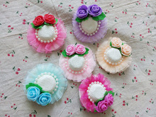 Pet lovely hat clip pearls Roses Lace headdress pet clip dog hairpin Pet grooming Pet accessories 2pcs(China)
