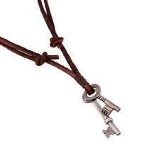 2016 New Punk style leather necklace Men alloy Key Vintage necklaces Antique Silver key  pendants cowhide chain fashion jewelry