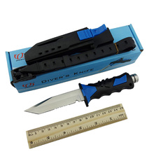 Diver Survival Knife 440C Fixed Blade Outdoor Sanding Surface Tactical Diving Knives Camping Tool wiith Rubber Handle & Belt