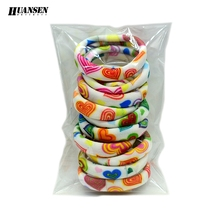 Wholesale 50 Pieces hair accessories Mix color Love heart Gum ties women Elastic hair bands for girls scrunchy wholesale(China)
