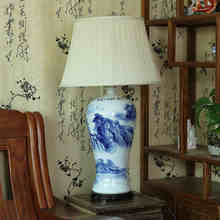 Vintage style porcelain ceramic desk table lamps for bedside chinese Blue and White Porcelain chinese porcelain table lamp(China)