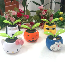 Wholesale Leaves Swing Under Full Light No Battery No Water Novelty Cartoon Pot Lucky Clover Gifts Flip Flap Solar Flowers(China)